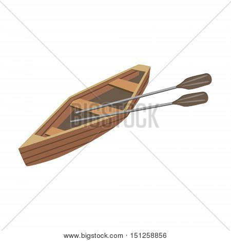 Wooden Peddle Type Of Boat Icon. Simple Childish Vector Illustration Isolated On White Background