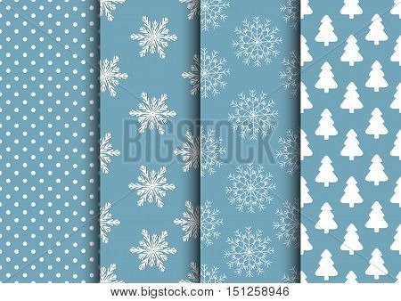 Set of blue and white seamless backgrounds for winter or holiday design. Vector collection.