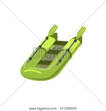 Green Inflatable Raft Type Of Boat Icon. Simple Childish Vector Illustration Isolated On White Background