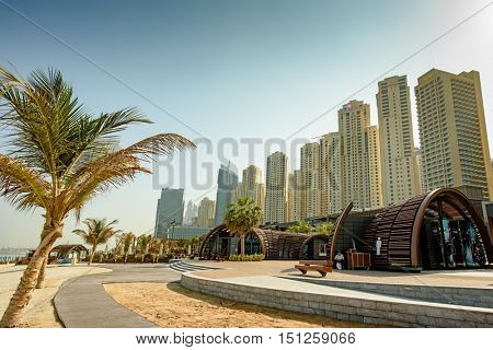 DUBAI, UAE - OCTOBER 06, 2016: The beach at Jumeirah Beach Residence (JBR) has been extended to include a larger sand beach and 300,000 sq feet of shops and restaurants