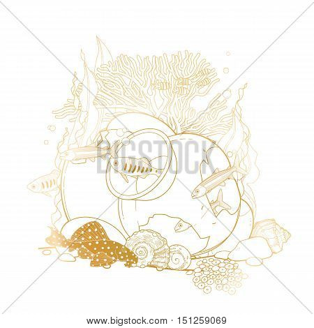 Graphic aquarium fish with broken jar drawn in line art style. Isolated under water scenery in golden colors.