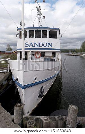 Karlsborg, Sweden - August 19, 2016: Historical Steamer Sandon On The Lake Vaenern Near Karlsborg In