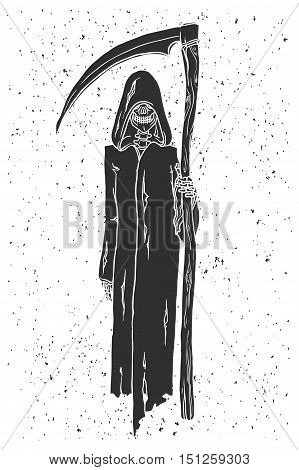 Grim reaper hand drawn grunge vector illustration