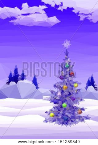 Winter Woodland Landscape, Christmas Holiday Tree with Decorations, Low Poly Pattern. Vector