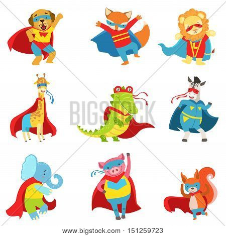 Animals Superheroes With Capes And Masks Set. Childish Flat Comic Characters Isolated On White Background.