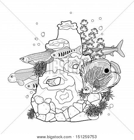 Graphic aquarium fish with coral reef drawn in line art style. Underwater scenery isolated on the white background. Coloring book page design for adults and kids.