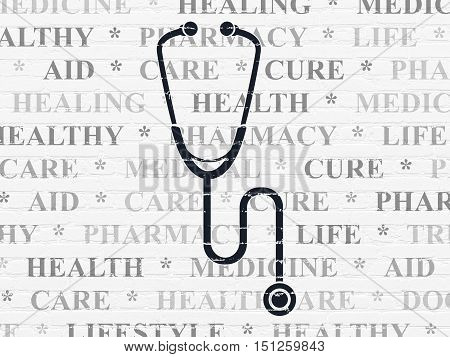 Healthcare concept: Painted black Stethoscope icon on White Brick wall background with  Tag Cloud