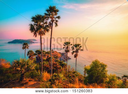 Phromthep cape viewpoint at twilight sky in PhuketThailand