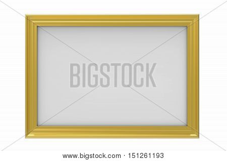 Gold plated rectangular picture frame isolated on white 3D render
