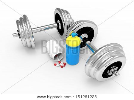 Two dumbbells with vial of pills on white background 3D render