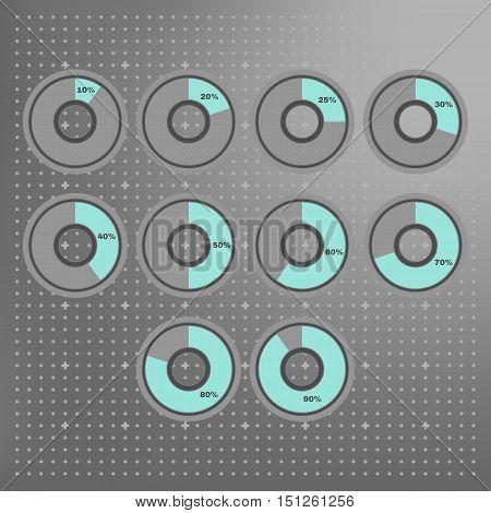 Vector Infographics pie charts 10 20 25 30 40 50 60 70 80 90 percent