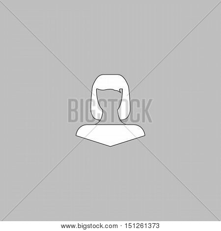Girl head Simple line vector button. Thin line illustration icon. White outline symbol on grey background