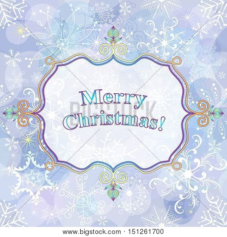 Christmas gentle greeting card with snowflakes and translucent white label vector eps10