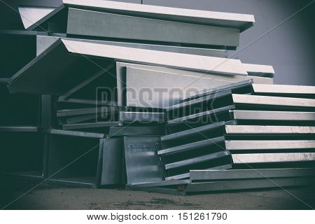 metal structure glass structure gray background, still