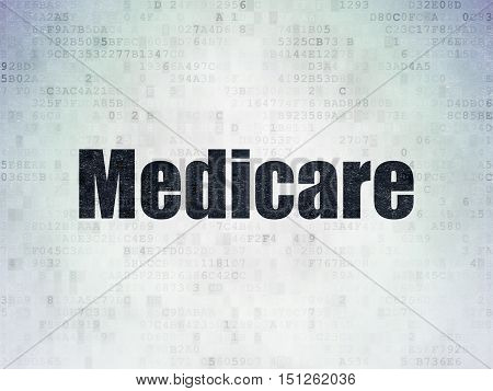 Health concept: Painted black word Medicare on Digital Data Paper background