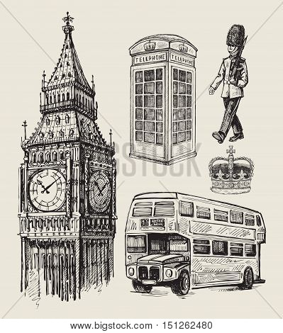 vector hand drawn illustration of great britain