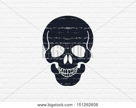 Health concept: Painted black Scull icon on White Brick wall background
