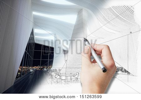 Male hand drawing spacious unfinished interior project. 3D Rendering
