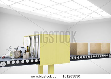 Mail conveyor in concrete interior. Packaging service and parcel transportation system concept. 3D Rendering