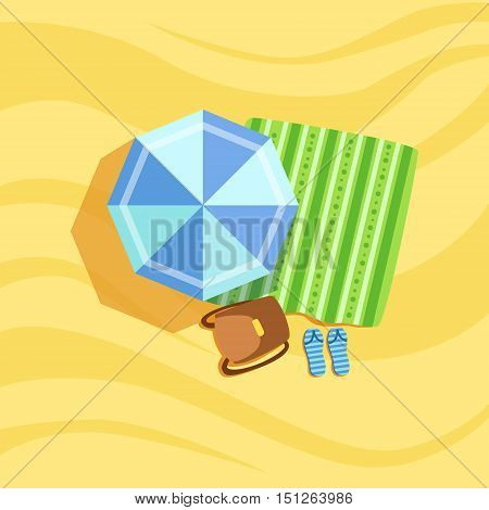 Backpack, Flip-Flops And Umbrella Spot On The Beach Composition. Place On The Sand With Vacation Attributes From Above Bright Color Vector Illustration.