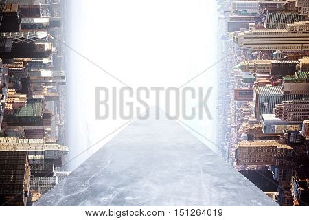 Concrete walkway on abstract rotated to the side city background. Success concept. 3D Rendering