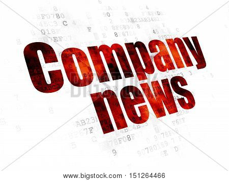 News concept: Pixelated red text Company News on Digital background