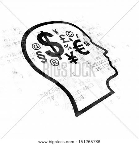 Learning concept: Pixelated black Head With Finance Symbol icon on Digital background