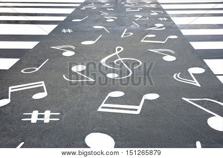 pedestrian crossing across the road with notes