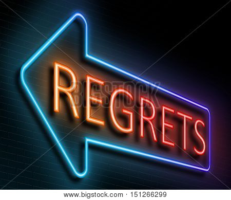 Regrets Sign Concept.