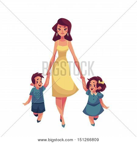Mother, daughter and son walking together, cartoon vector illustrations isolated on white background. Young beautiful mom wolking with her little children, daughter and som, happy family concept