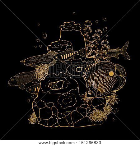 Graphic aquarium fish with coral reef drawn in line art style. Isolated underwater scenery in golden colors.