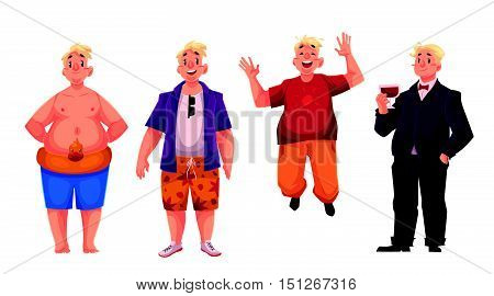 Young, happy fat man in swimming shorts, casual clothing and business suit, set of cartoon vector illustrations isolated on white background. Overweight, fat man enjoying life and having fun