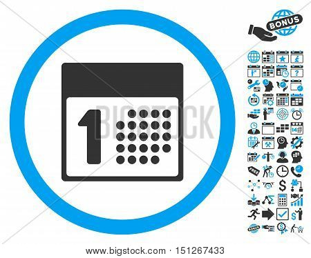 First Day pictograph with bonus calendar and time management symbols. Glyph illustration style is flat iconic bicolor symbols blue and gray colors white background.