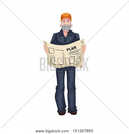 Full length portrait of mature Caucasian architect or foreman, cartoon style vector illustration isolated on white background. Foreman, architect in orange helmet, blue shirt and jeans holding a plan