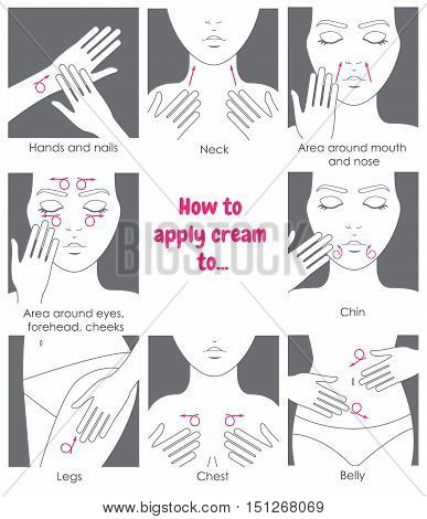 How to apply cream to the face neck hands belly legs. Design packaging. Instructions