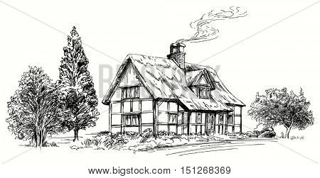 Hand drawn vector illustration - thatched roof stone cottage in England.