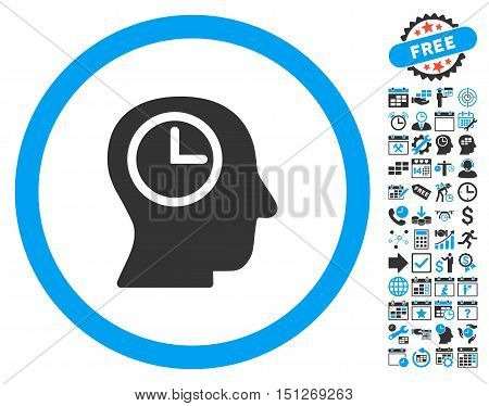 Time Manager icon with bonus calendar and time management pictogram. Glyph illustration style is flat iconic bicolor symbols blue and gray colors white background.