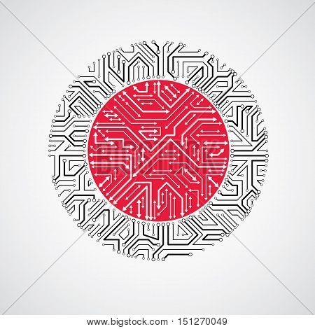 Vector Abstract Computer Circuit Board Red And Black Illustration, Round Technology Element With Con