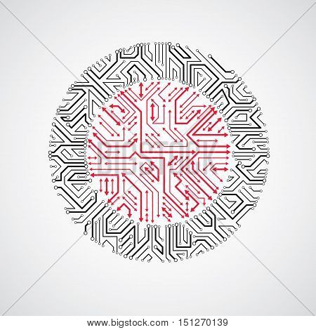 Technology Communication Cybernetic Element With Arrows. Vector Abstract Illustration Of Circuit Boa