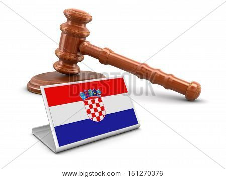 3D Illustartion. 3d wooden mallet and Croatian flag. Image with clipping path