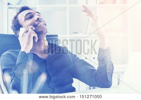 Relaxed Man On His  Phone