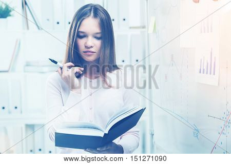 Beatiful Office Worker With Large Book