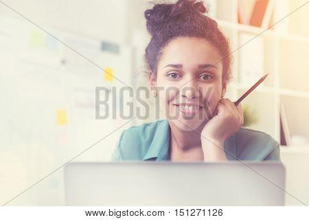 Smiling Black Girl Portrait In Room
