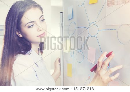 Woman Drawing Graphs On Whiteboard