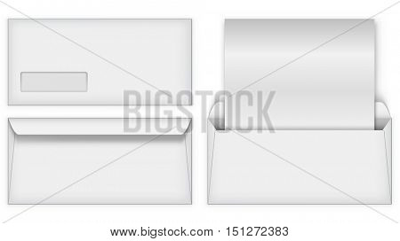 Blank white business postal envelope vector template. Front and back of the clean letter.