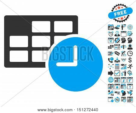 Date and Time pictograph with bonus calendar and time management pictograph collection. Glyph illustration style is flat iconic bicolor symbols blue and gray colors white background.