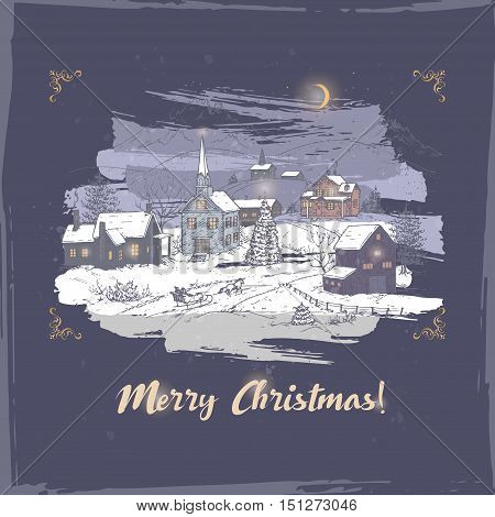 Vintage romantic Christmas card with holiday village color sketch on blue background. Based on hand drawn sketch. Great for holiday design.