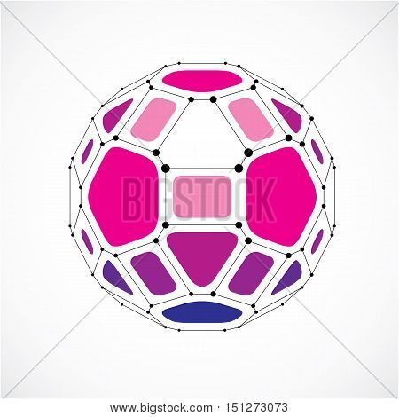3D Vector Digital Wireframe Spherical Object Made Using Facets. Geometric Polygonal Purple Ball Crea