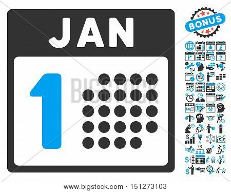 January First pictograph with bonus calendar and time management graphic icons. Glyph illustration style is flat iconic bicolor symbols blue and gray colors white background.