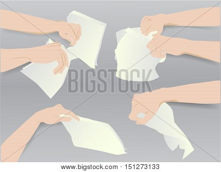 Hands holding torn and crumpled paper notepads. Simple template with six hands and blank paper notepads